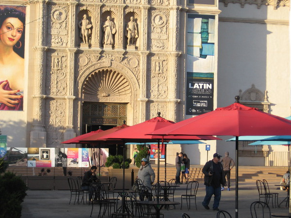 People enjoy relaxing in the Plaza de Panama, in front of the San Diego Museum of Art.