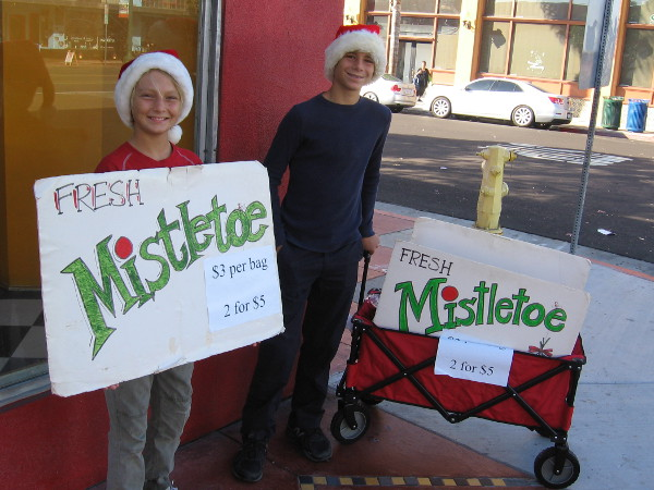 These kids were selling fresh mistletoe before the parade got started.