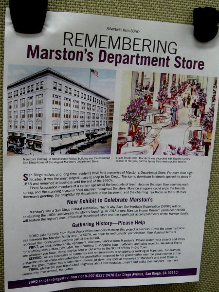 Remembering Marston's Department Store. Please help the Save Our Heritage Organisation gather artifacts and memories to preserve a part of San Diego history.