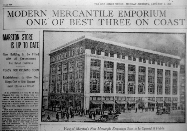 Photo of The San Diego Union newspaper from Monday Morning, January 1, 1912. Depicted is the brand new Marston Department Store. The headline reads: Modern Mercantile Emporium One of Best Three on Coast.