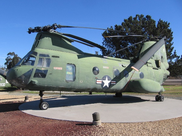 This Boeing Vertol CH-46D(E) Sea Knight military helicopter in San Diego is an object of great historical importance.