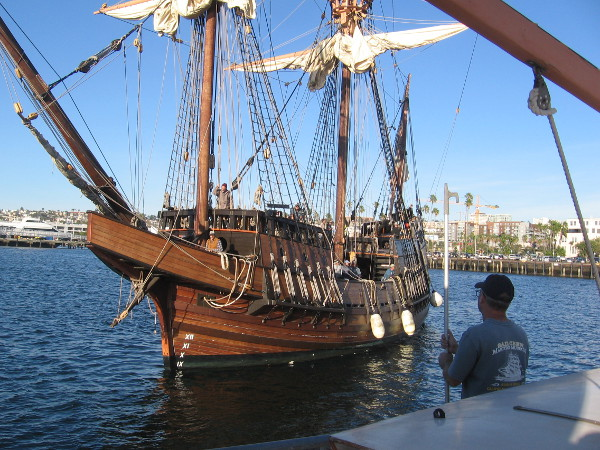 The Maritime Museum of San Diego's replica of explorer Cabrillo's galleon, San Salvador, comes in from a short trip out into the Pacific Ocean.