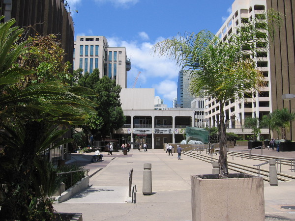 Walking west into Civic Center Plaza from Third Avenue. Golden Hall is directly ahead.