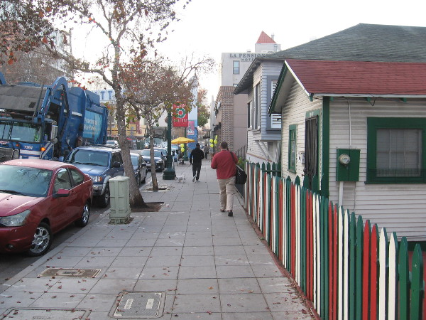 The holiday season is over in San Diego's Little Italy neighborhood. Leaves are falling. Time to head back to work.