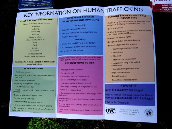 A flyer from the Office for Victims of Crime provides key information on human trafficking, including warning signs. (Please click this image to enlarge for easy reading.)