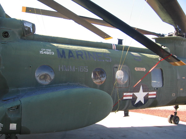 The fuselage of Sea Knight troop transport helicopter, call sign Lady Ace 09.