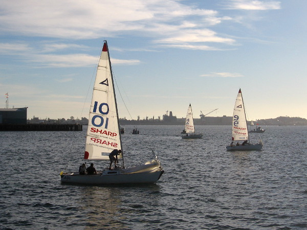 A California Dreamin' Match Race hosted by the San Diego Yacht Club was being held near the Maritime Museum.