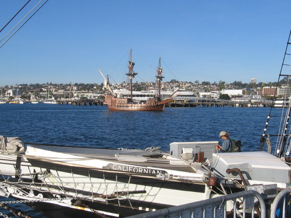 While I stood on the floating dock behind the Maritime Museum, I spotted San Salvador turning as it made its approach.