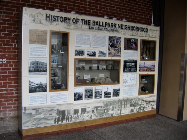 A cool exhibit in Petco Park shows the History of the Ballpark Neighborhood, San Diego, California.