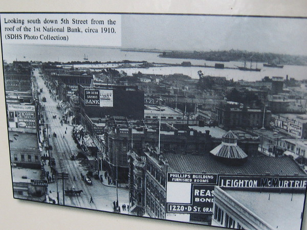Looking south down 5th Street (now Fifth Avenue) from the roof of the 1st National Bank, circa 1910. The area is heart of the Gaslamp Quarter.