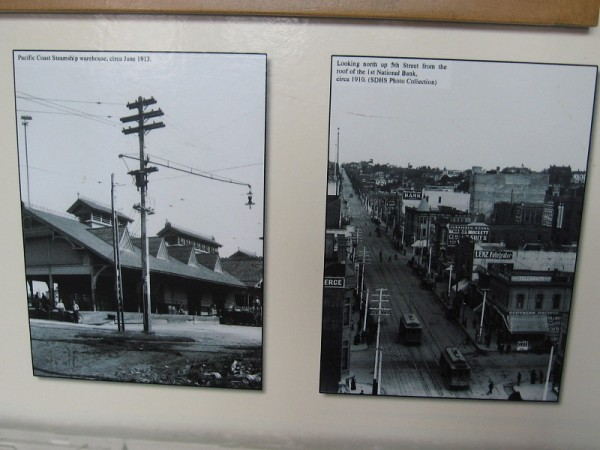 Two historical photos. To the left, Pacific Coast Steamship warehouse, circa 1913. To the right, looking north up 5th Street circa 1910.