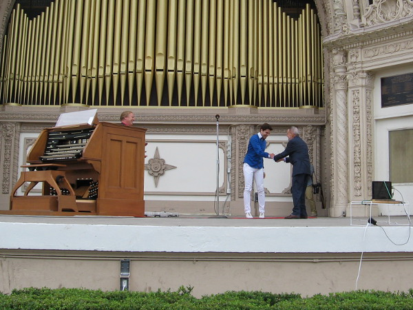 Jack Lasher, President of the Spreckels Organ Society, welcomes new San Diego Civic Organist Raúl Prieto Ramírez to the world's largest outdoor organ in Balboa Park.
