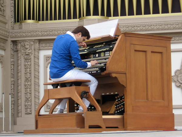 Playing the Spreckels Organ with style and passion.