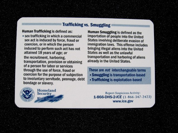 Information from Homeland Security's Blue Campaign explains the difference between human trafficking and human smuggling.