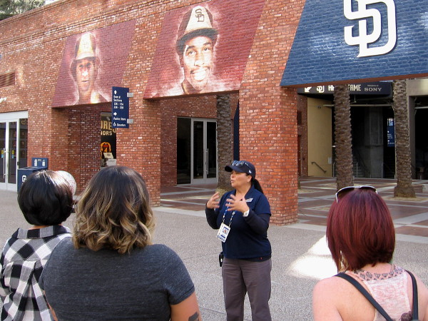 Paty, our knowledgeable and super friendly tour guide, familiarizes everyone with the history of Petco Park.