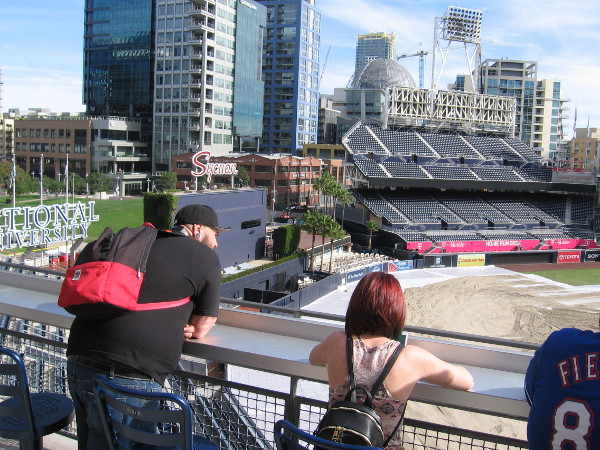 An amazing view of the ballpark can be enjoyed from The Rail, an exclusive seating area high up in the Western Metal Supply Co. Building.