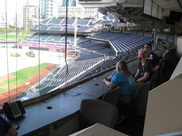 We get to sit inside writer's row, where the press watches each game and composes their stories! The official scorer has a special seat in one corner.