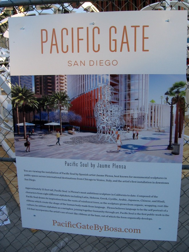 Sign explains that you are viewing the installation of Pacific Soul by Spanish artist Jaume Plensa. (Click image to enlarge the sign for easy reading.)