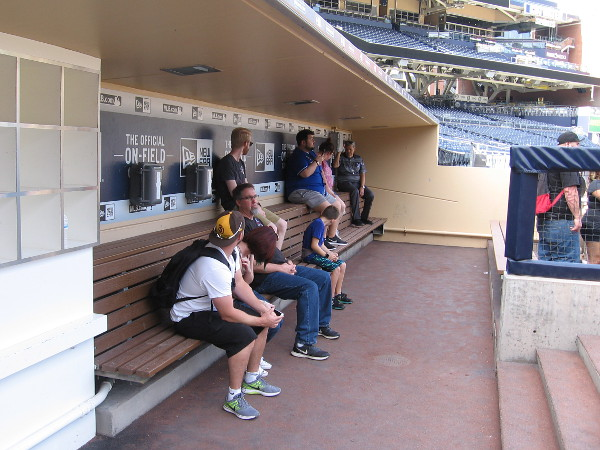 Sitting in the visiting team's dugout! How cool is this?