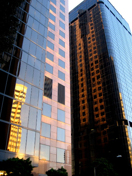 Almost to B Street. Some cool reflections produced by the early sunlight.