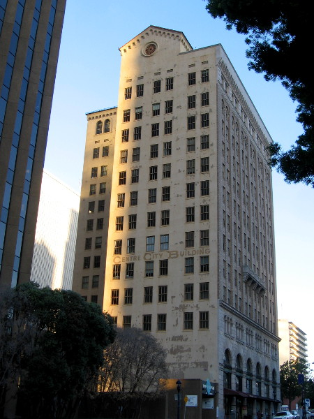 The old Centre City Building might have peeling paint, but it still rises handsomely into the San Diego sky. One edge is touched by the morning sun.