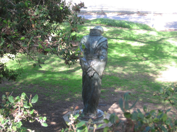 Photo taken behind The Padre on Presidio Hill. The 1908 bronze sculpture is by Arthur Putnam.
