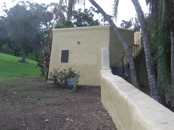 A plaque can be seen on the observation structure near one corner of the Serra Museum parking lot.