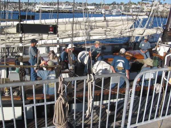 Californian's sail crew was gathered on her deck having a meeting.