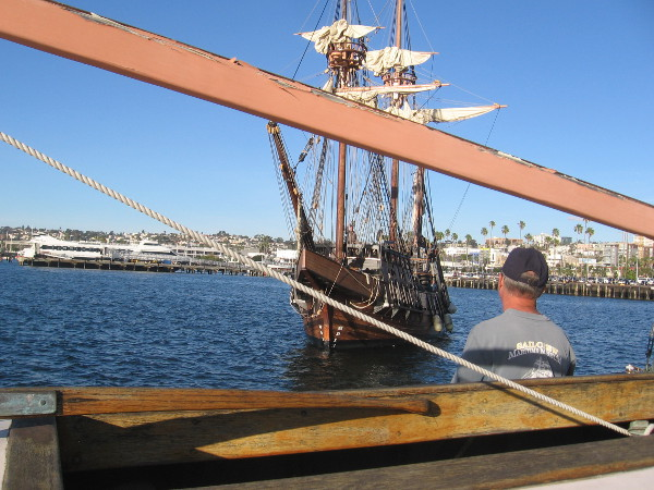 Someone awaits San Salvador on the museum's floating dock, which is frequently called the barge.