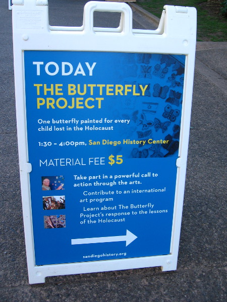 An event to raise awareness about The Butterfly Project was held at the San Diego History Center in Balboa Park.