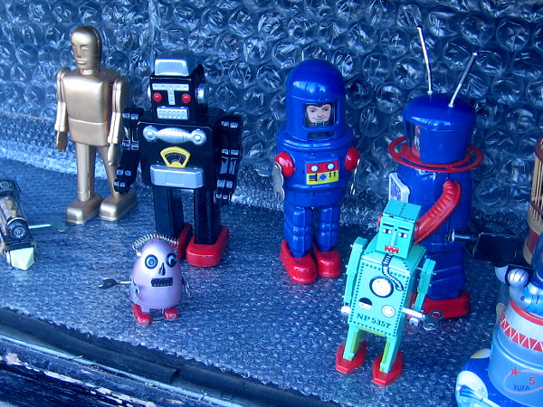 I see some fun, nostalgic robot toys!