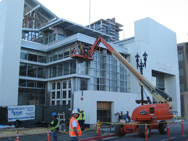 In this photo the City of San Diego Bayside Fire Station No. 2 is approaching completion.