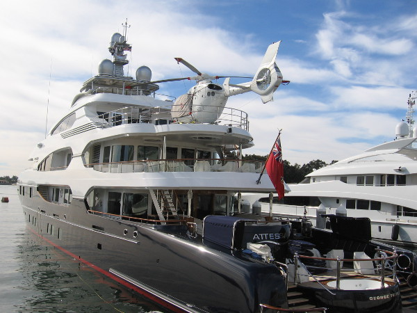 The beautiful Attessa, with helicopter, docked in San Diego in early January, 2018.