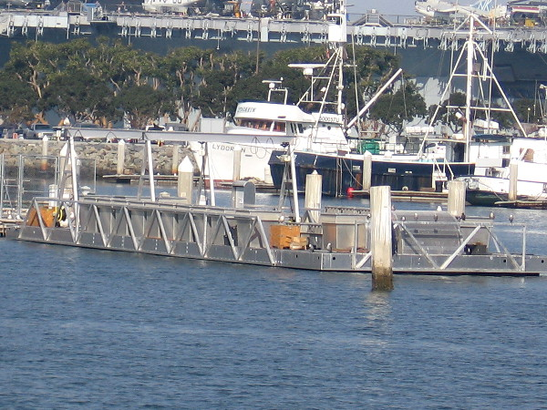 The Port of San Diego's Oyster Nursery Research Project at the end of a dock inside Tuna Harbor.