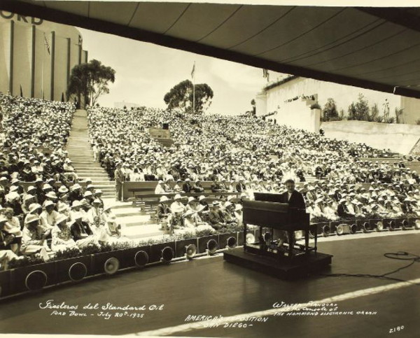 A performance in the Ford Bowl (now the Starlight Bowl) during the 1935 California Pacific International Exposition in Balboa Park. No known copyright restrictions image from Flickr.
