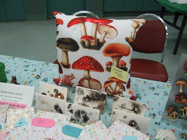 Spore print cards and a fun fungus pillow!