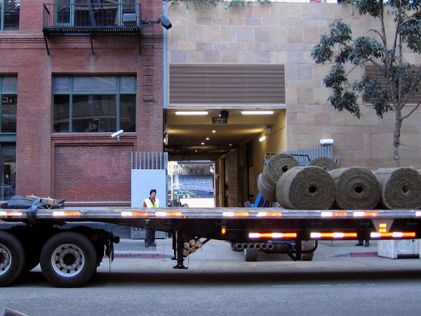 Rolls of sod are lifted up and brought into Petco Park. Spring can't be far away now!