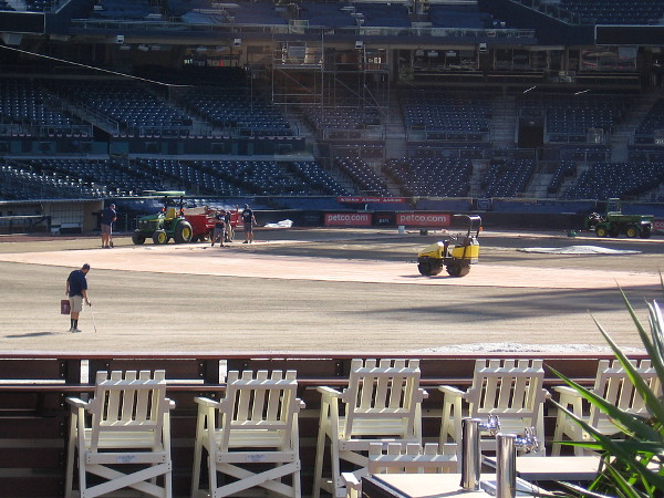 I took this photo a couple weeks ago from the Park at the Park. Workers were busy preparing the ball field for the Padres' 2018 season.