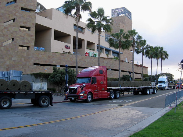 Numerous trucks were lined up all around Petco Park this morning. A promising new season is around the corner, and the outfield is getting a lot of fresh new turf!