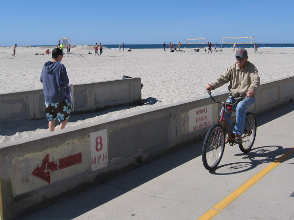 Riding a bike through South Mission Beach on a perfect San Diego day.