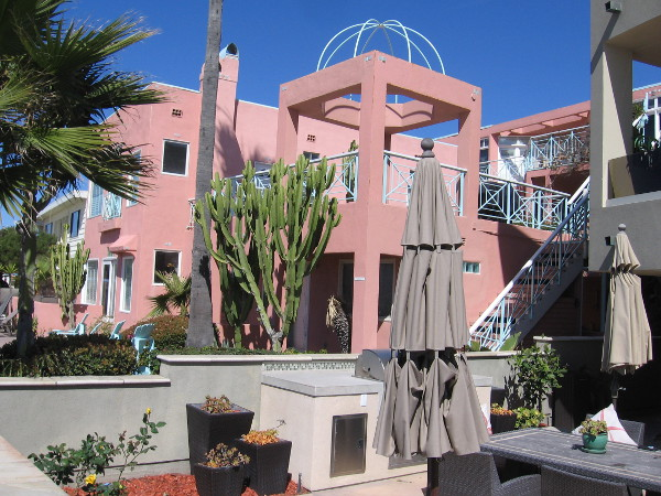 One of the cool beachfront properties on South Mission Beach. Many are available as vacation rentals.