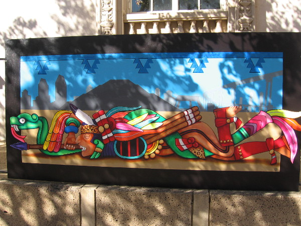 Art by Hector Villegas. He is a teacher who has painted three murals at Chicano Park.