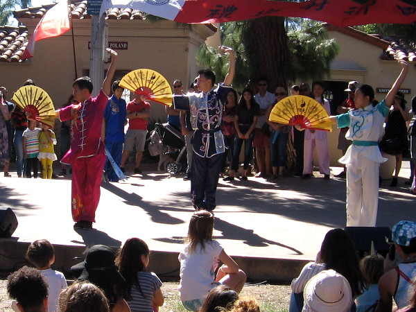 A demonstration of martial arts by members of the San Diego Wushu Center during the 2018 Chinese New Year Festival in Balboa Park.