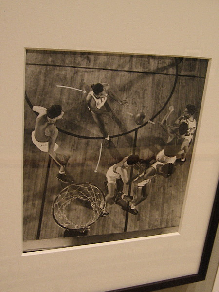 Long Island University basketball team demonstrates best scoring plays. Gelatin silver print, 1940.