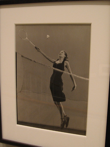 Woman playing badminton. Gelatin silver print, 1945.