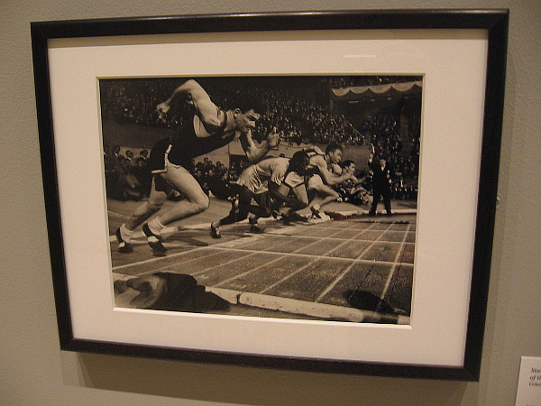 Starting line for the sixty-yard hurdles of the Millrose Games. Gelatin silver print, 1948.