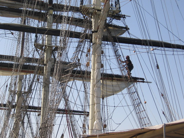 The complex masts, yards and rigging of a fantastic tall ship.