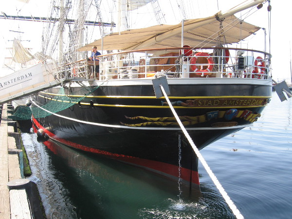 I walked along the length of the Dutch tall ship to see its full glory.