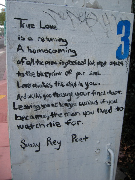 A bit of wisdom by poet Sunny Rey painted on a utility box in City Heights. True Love is a returning...A homecoming...Love awakes the child in you...
