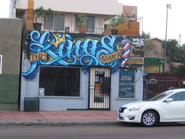 The front of The Kings Barbershop was painted by DyseOne and Hasler.